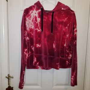 Calvin Klein Tie Dye Crop Pink Purple Hoodie